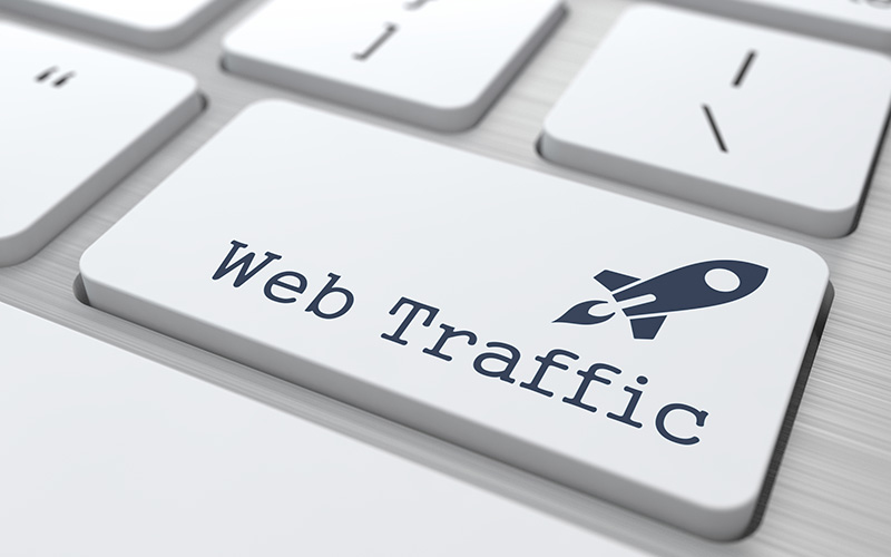 Web traffic keyboard button with rocket